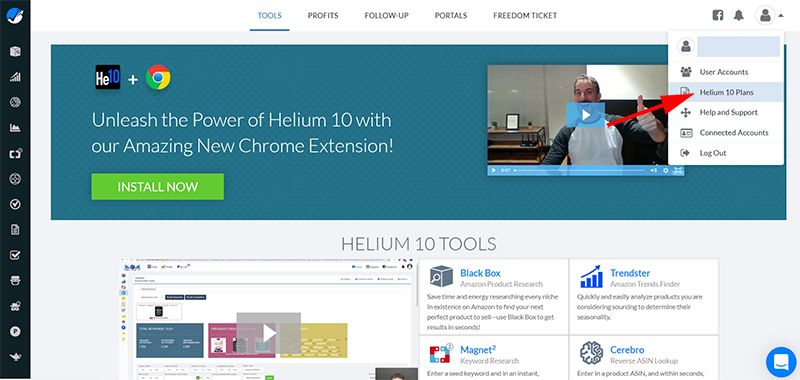 helium10 existing account